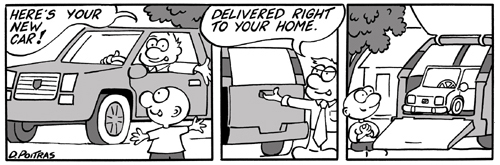 "New Car Cartoon - ""Here's your new car."""